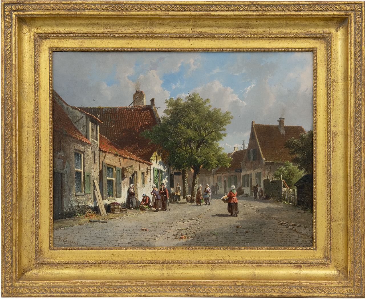 Eversen A.  | Adrianus Eversen | Paintings offered for sale | A sunny, busy village view, oil on panel 33.0 x 43.9 cm, signed l.l.