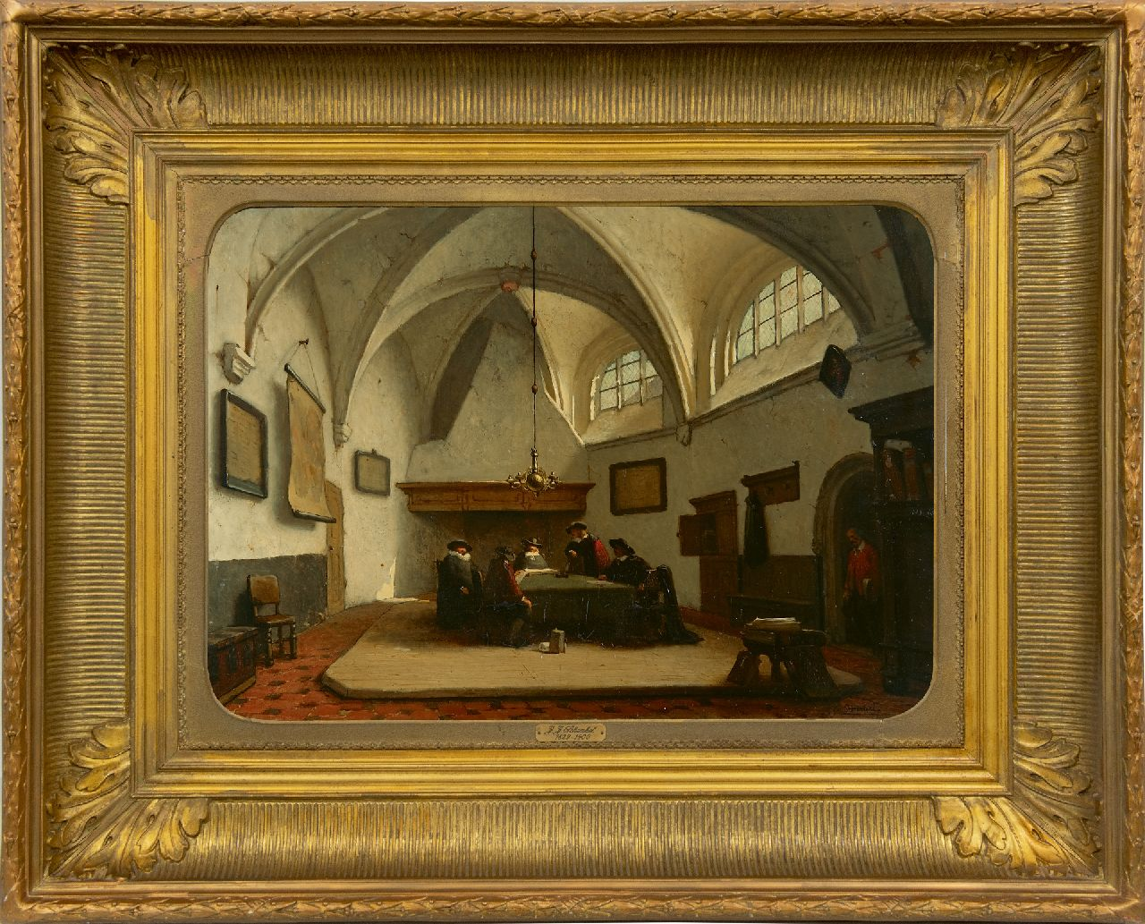 Schenkel J.J.  | Jan Jacob Schenkel, Aldermen gathered in the consistory room of the Grote Kerk, Breda, oil on panel 39.4 x 55.8 cm, signed l.r.
