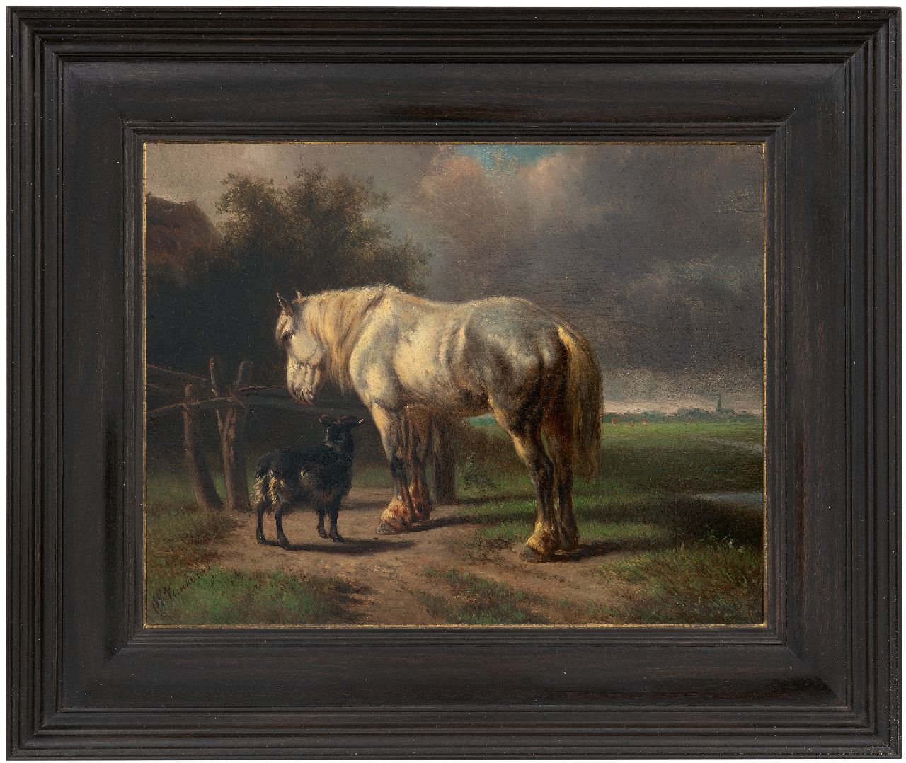 Verschuur W.  | Wouterus Verschuur | Paintings offered for sale | Horse and goat near a fence, oil on panel 23.0 x 29.2 cm, signed l.l.