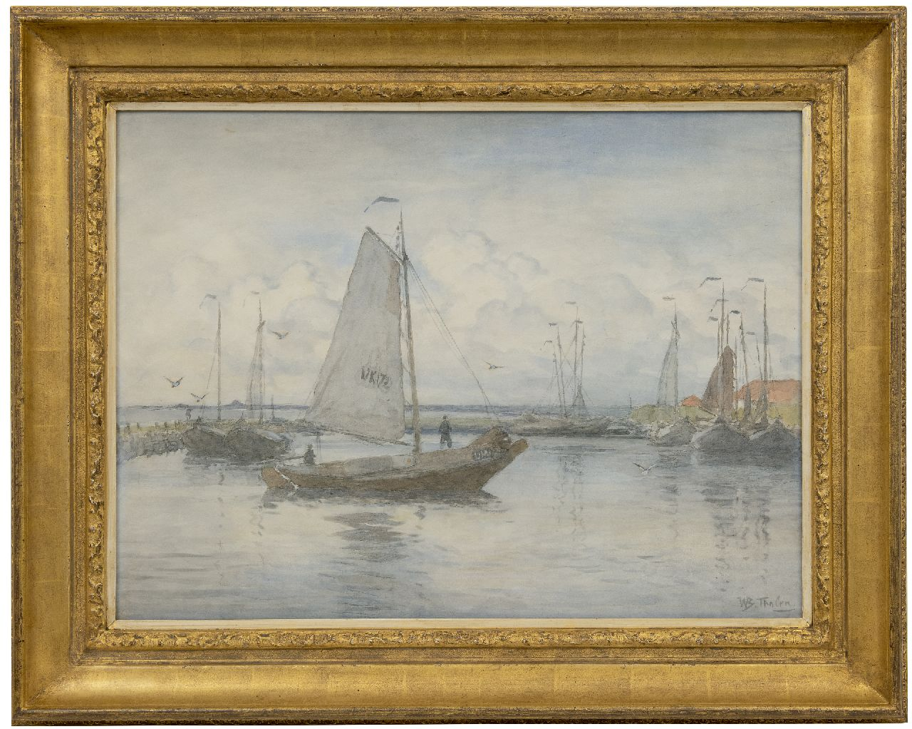 Tholen W.B.  | Willem Bastiaan Tholen | Watercolours and drawings offered for sale | Botter entering the harbour, watercolour on paper 51.1 x 70.0 cm, signed l.r.
