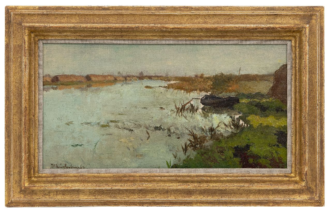 Weissenbruch H.J.  | Hendrik Johannes 'J.H.' Weissenbruch | Paintings offered for sale | Peat landscape, oil on canvas laid down on panel 17.2 x 33.0 cm, signed l.l.