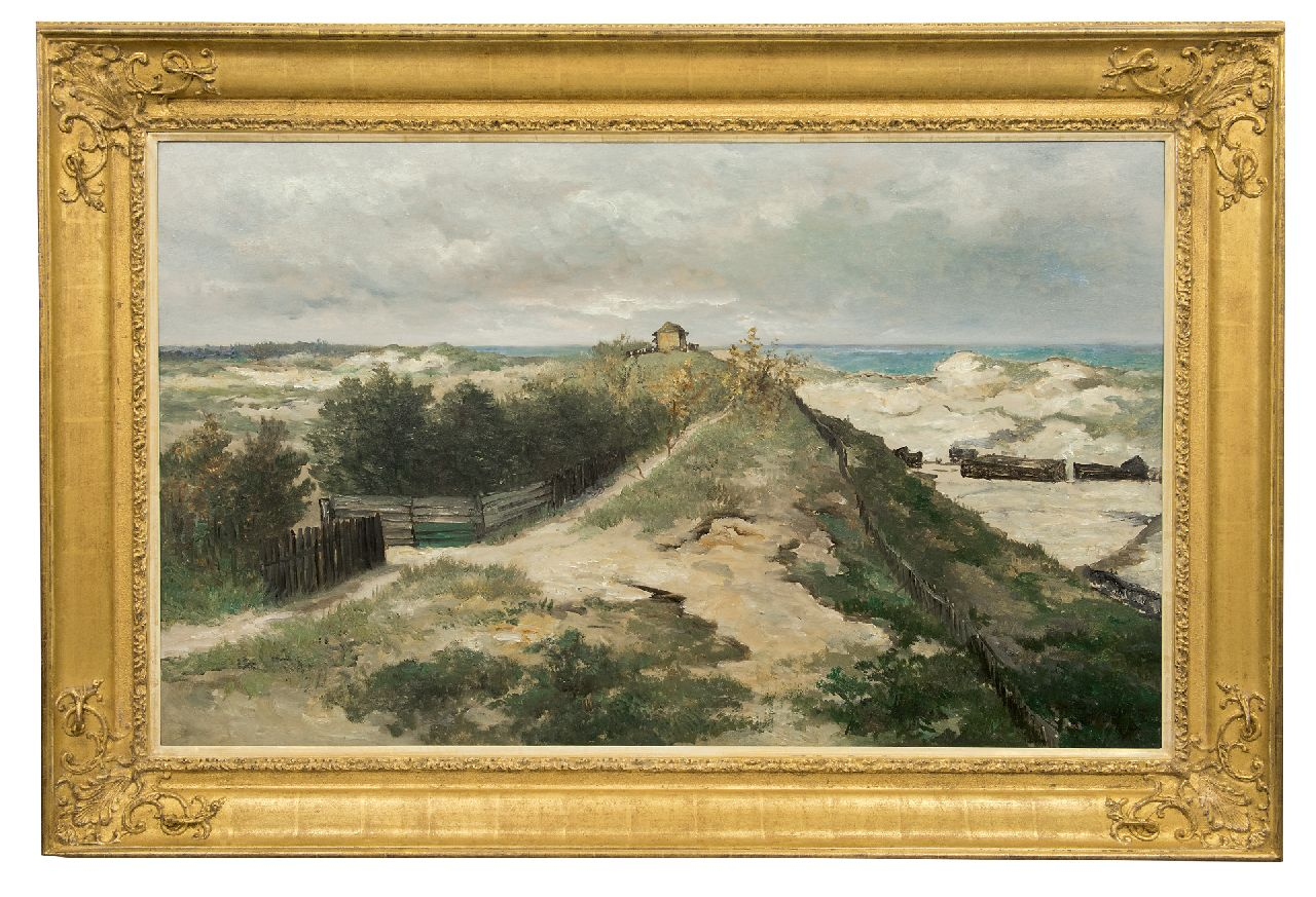 Mesdag H.W.  | Hendrik Willem Mesdag, The Seinpost dune at Scheveningen, oil on panel 70.1 x 115.2 cm, painted 1885-1895