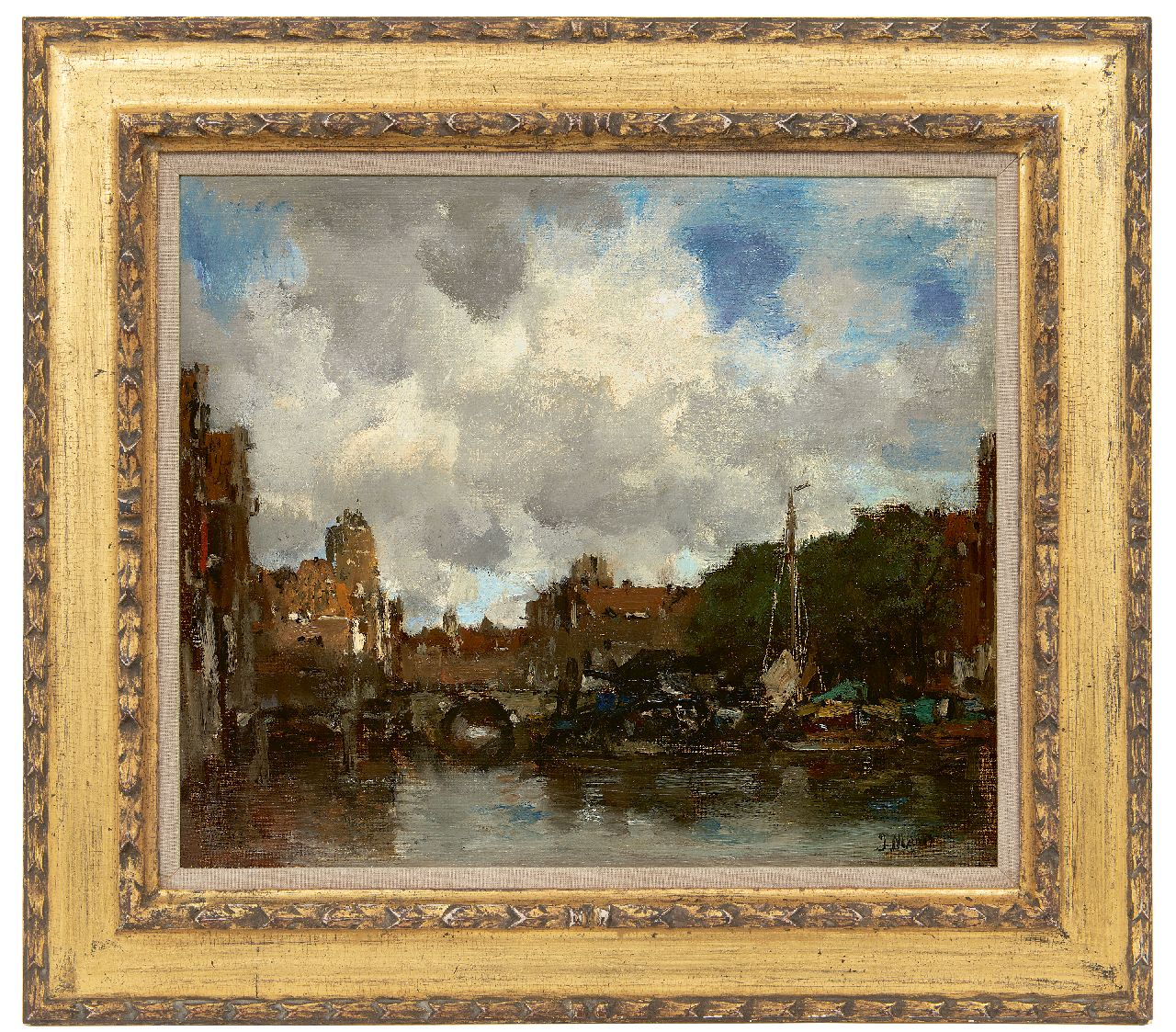Maris J.H.  | Jacobus Hendricus 'Jacob' Maris | Paintings offered for sale | A Dutch harbour town (Dordrecht), oil on canvas 41.5 x 49.0 cm, signed l.r. and to be dated ca. 1890
