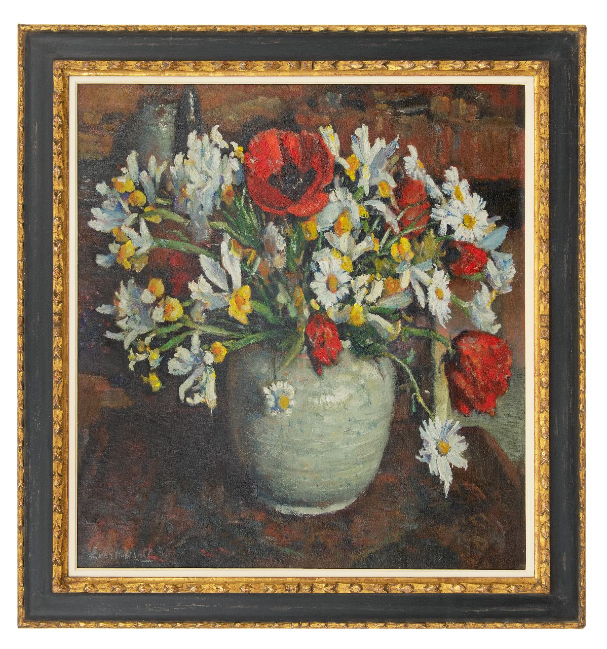 Moll E.  | Evert Moll | Paintings offered for sale | Poppies and daisies in a white vase, oil on canvas 76.0 x 70.2 cm, signed l.l.
