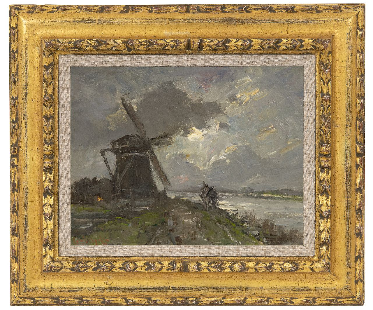 Apol L.F.H.  | Lodewijk Franciscus Hendrik 'Louis' Apol | Paintings offered for sale | Along the canal on a rainy day, oil on painter's board 20.0 x 26.0 cm, signed l.l.