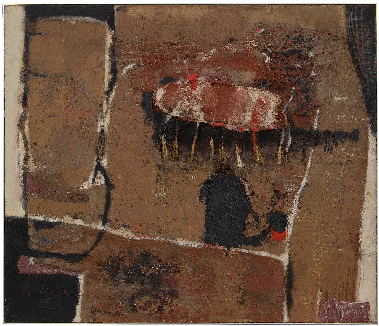 Wagemaker A.B.  | Adriaan Barend 'Jaap' Wagemaker | Paintings offered for sale | Forme Détachée, mixed media on canvas 94.3 x 110.4 cm, signed l.l. and dated '56