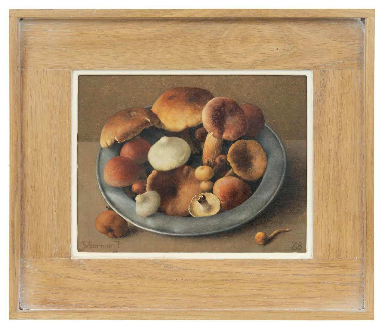 Voerman jr. J.  | Jan Voerman jr. | Paintings offered for sale | A pewter bowl with mushrooms, oil on canvas laid down on board 19.2 x 24.4 cm, signed l.l. and dated '68