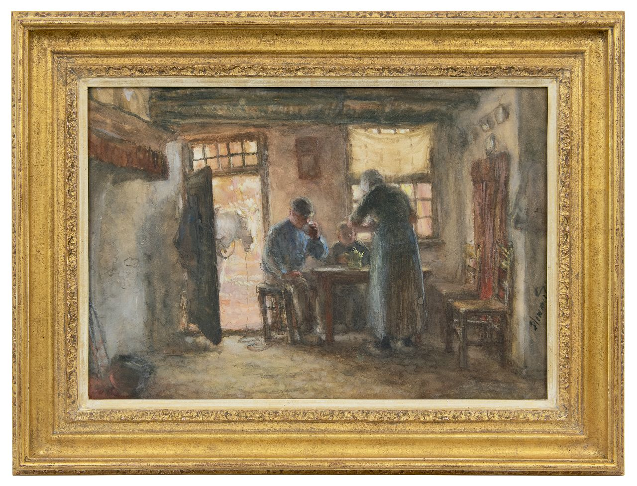 Blommers B.J.  | Bernardus Johannes Blommers | Watercolours and drawings offered for sale | Farmers family around the table, watercolour on paper 37.6 x 54.3 cm, signed l.r.