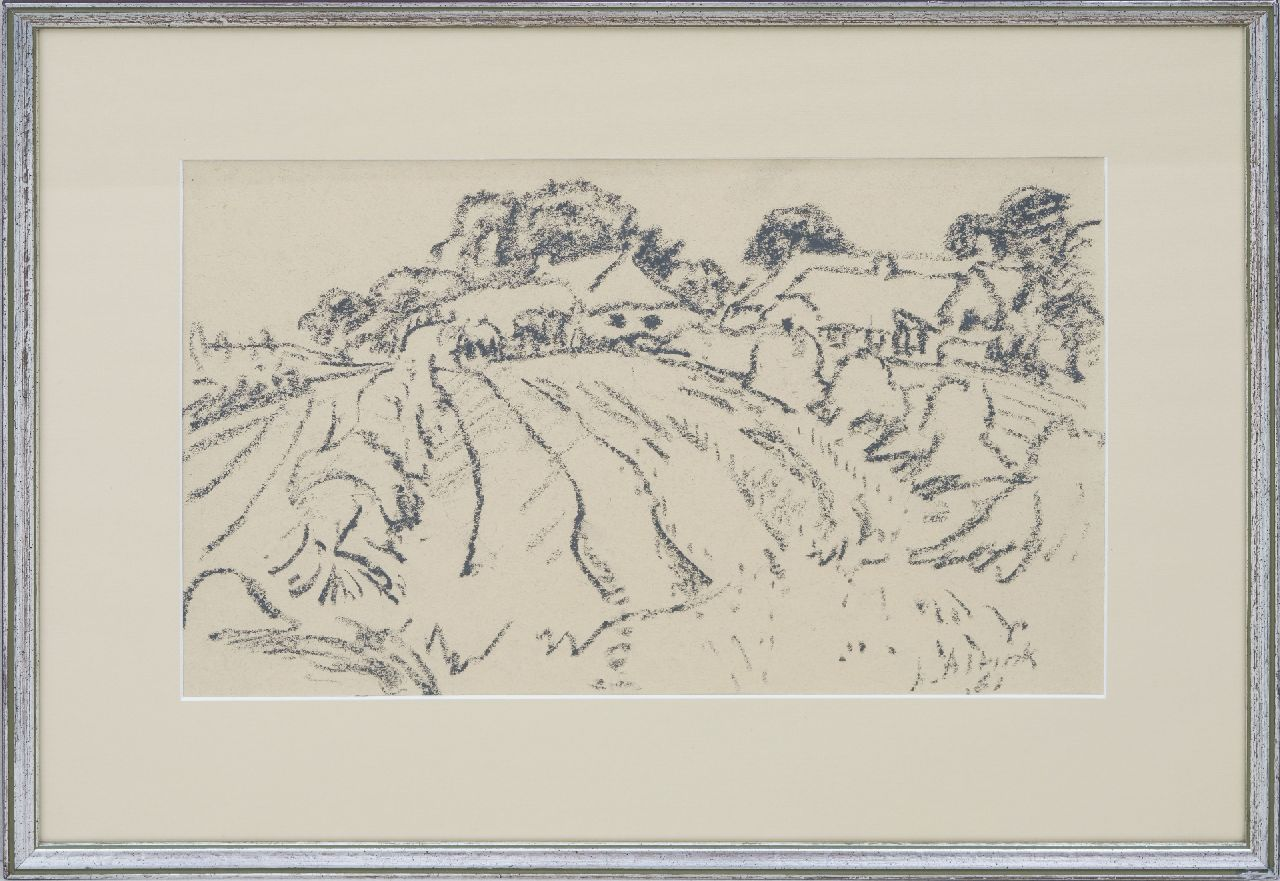 Altink J.  | Jan Altink | Watercolours and drawings offered for sale | Arable land with farms, black chalk on paper 31.1 x 48.3 cm, signed l.r. and dated '61