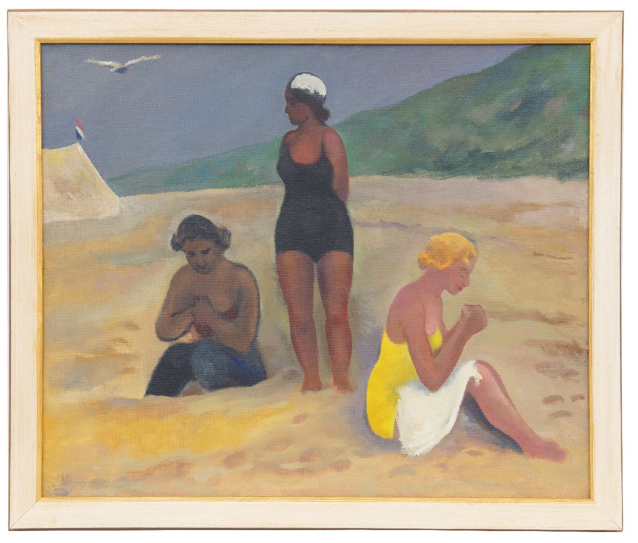 Kleima E.A.  | 'Ekke' Abel Kleima | Paintings offered for sale | 3 ladies on the beach, Schiermonnikoog, oil on canvas 50.4 x 60.5 cm, signed with initials on the stretcher and dated 1939 on the stretcher