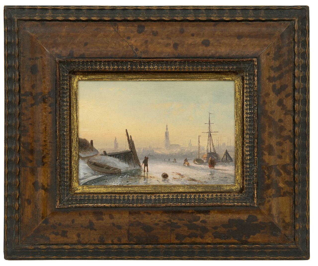 Leickert C.H.J.  | 'Charles' Henri Joseph Leickert | Paintings offered for sale | Ice scene with skaters near a city, oil on panel 11.7 x 17.3 cm, signed l.l. with initials