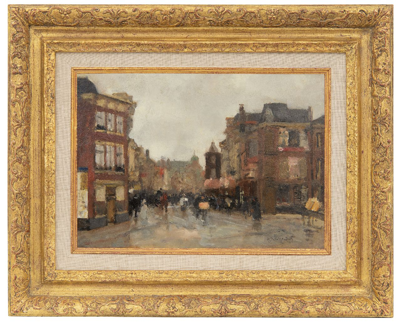 Arntzenius P.F.N.J.  | Pieter Florentius Nicolaas Jacobus 'Floris' Arntzenius | Paintings offered for sale | A view of the Wagenstraat, The Hague, oil on panel 20.6 x 29.0 cm, signed l.r.