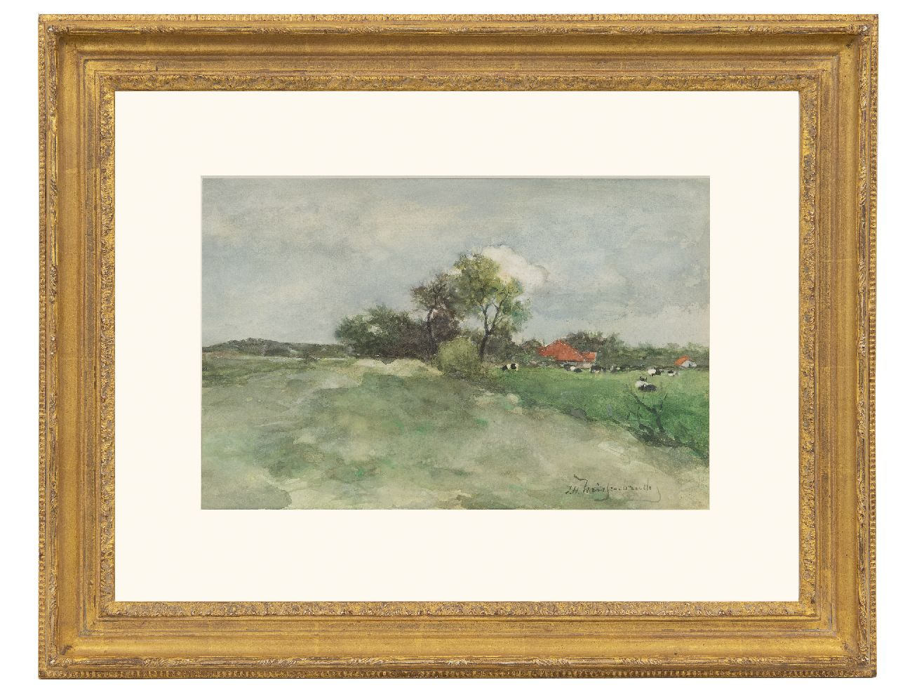 Weissenbruch H.J.  | Hendrik Johannes 'J.H.' Weissenbruch | Watercolours and drawings offered for sale | Meadow behind the dunes, watercolour on paper 23.5 x 36.3 cm, signed l.r. and ca 1879