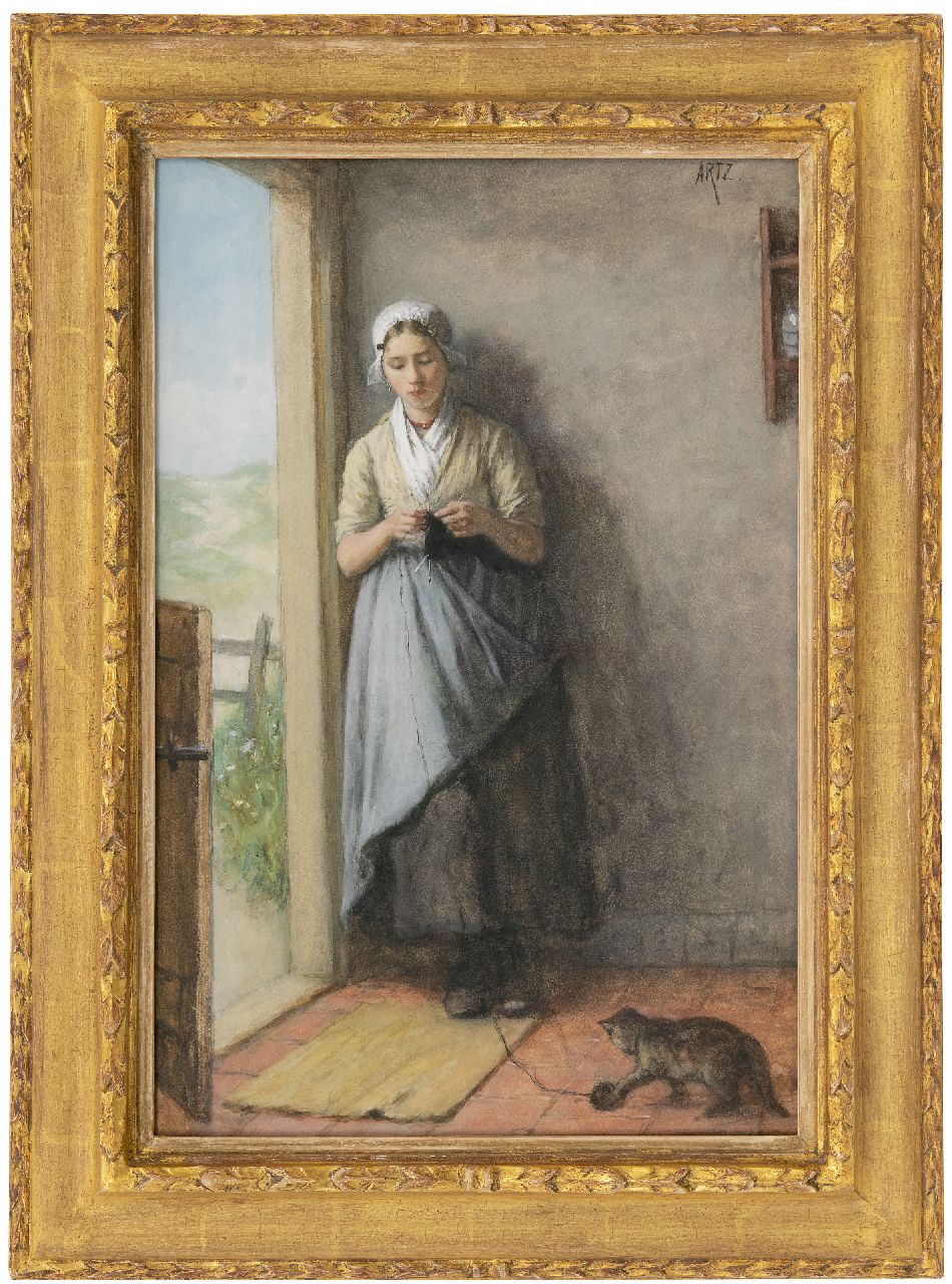 Artz D.A.C.  | David Adolphe Constant Artz | Watercolours and drawings offered for sale | Fisher girl knitting in the doorway, watercolour on paper 53.8 x 36.0 cm, signed u.r.