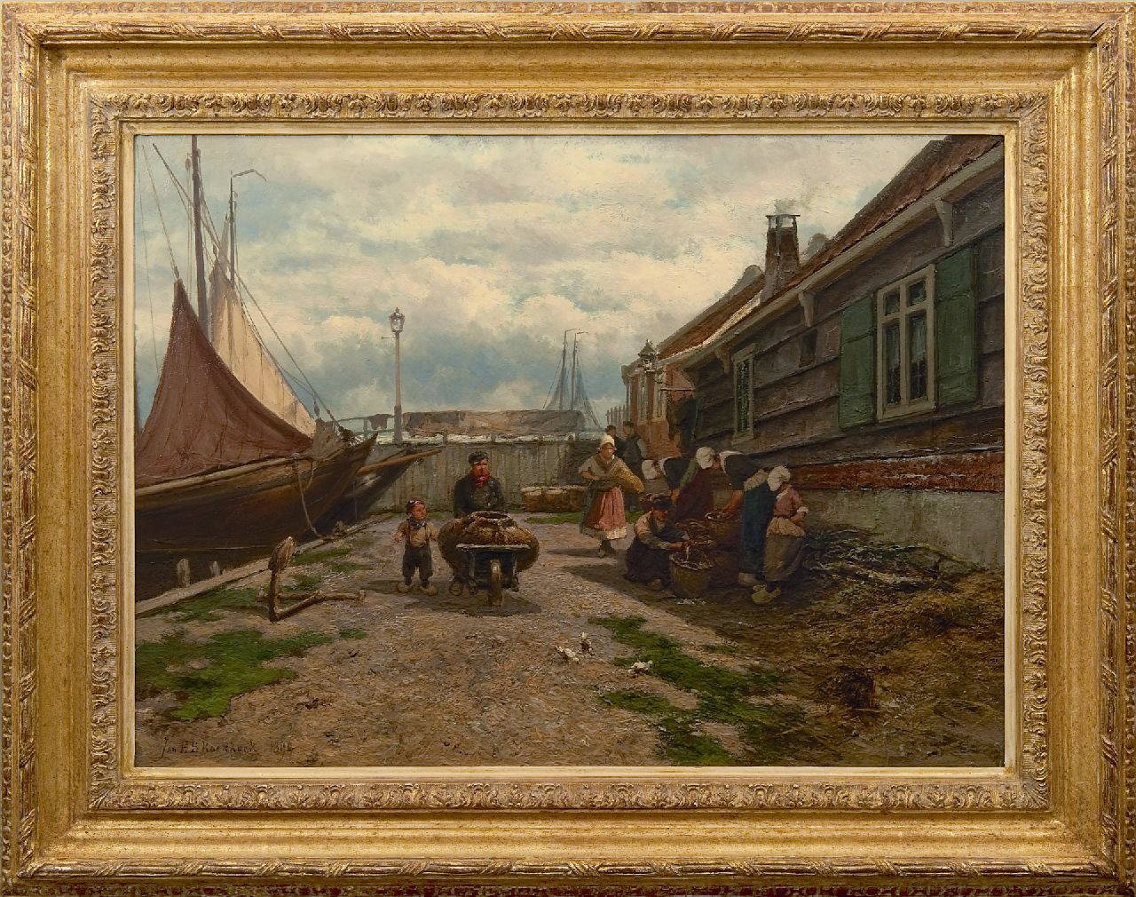Koekkoek J.H.B.  | Johannes Hermanus Barend 'Jan H.B.' Koekkoek | Paintings offered for sale | Fisherwomen selling their catch a Zuiderzee harbour, oil on panel 53.2 x 73.0 cm, signed l.l. and dated 1894