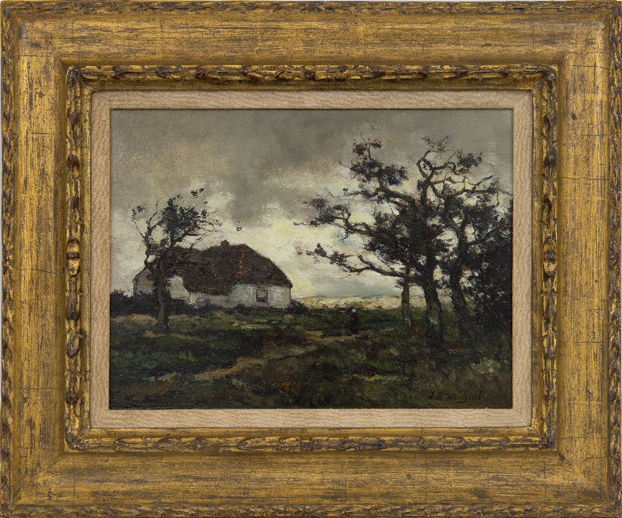 Weissenbruch H.J.  | Hendrik Johannes 'J.H.' Weissenbruch | Paintings offered for sale | Landscape with farmhouse near Dekkersduin, The Hague, oil on paper laid down on panel 23.2 x 31.1 cm, signed l.r.