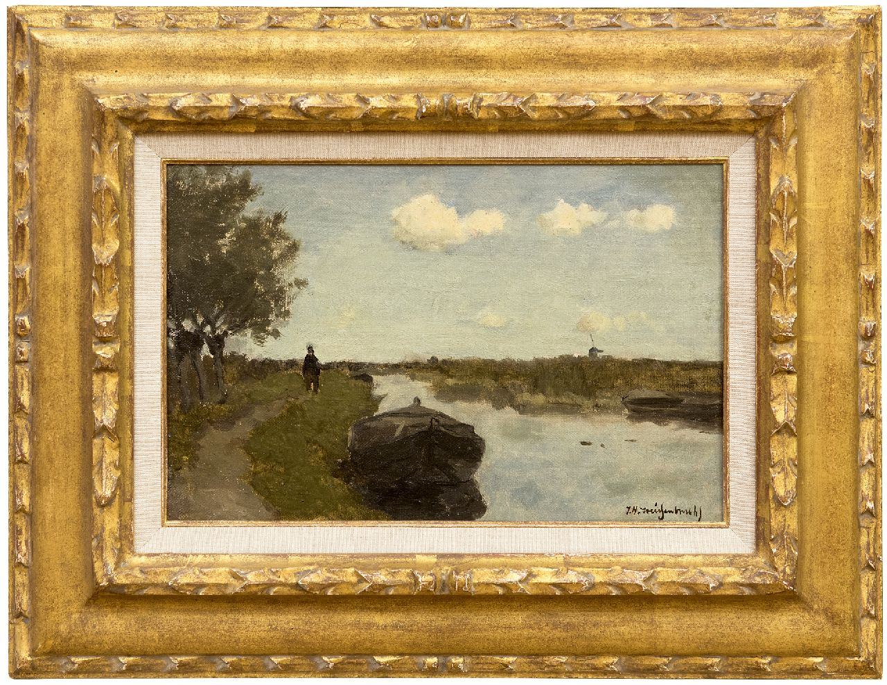Weissenbruch H.J.  | Hendrik Johannes 'J.H.' Weissenbruch | Paintings offered for sale | Along the towpath, oil on canvas laid down on panel 21.0 x 31.0 cm, signed l.r.