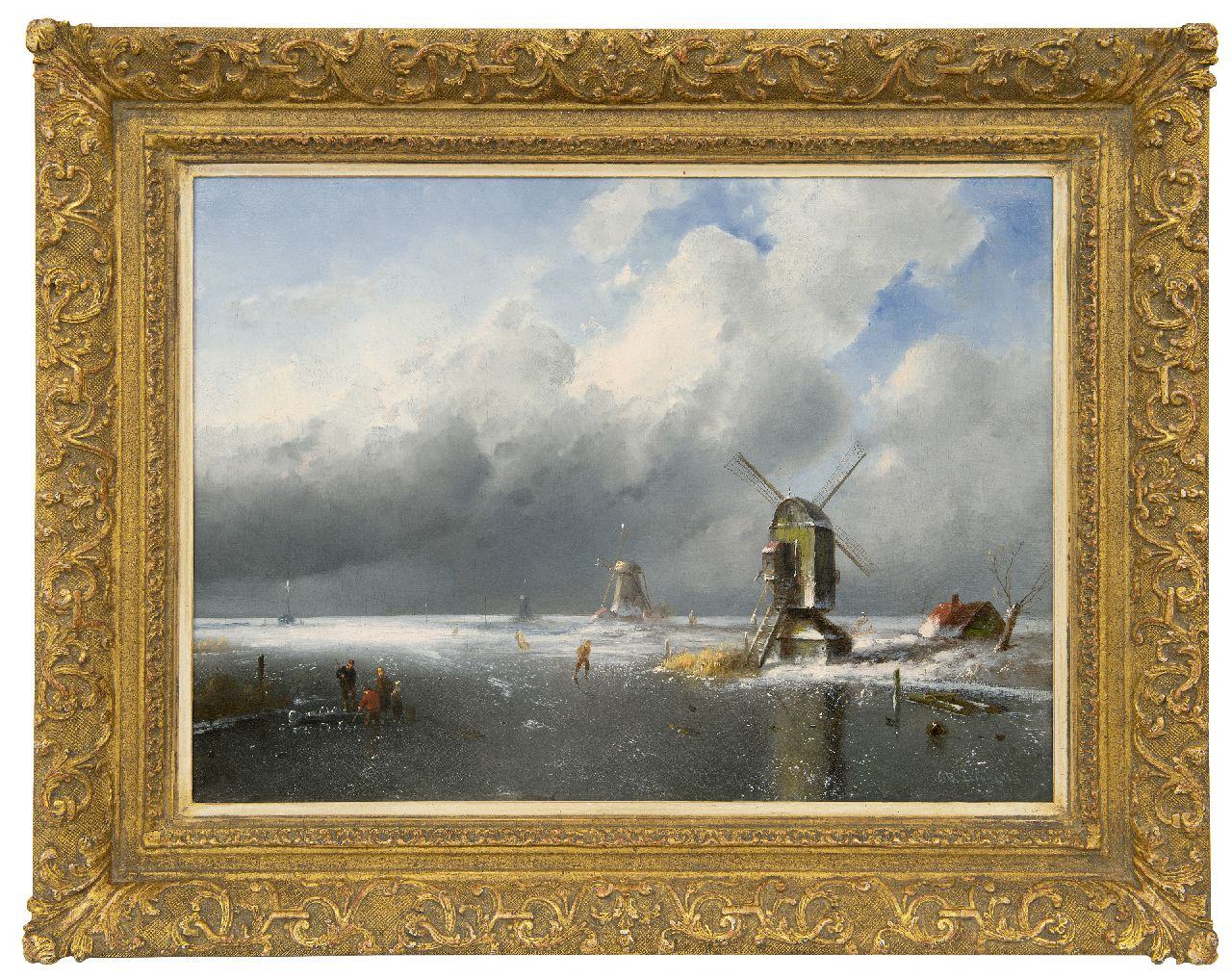 Leickert C.H.J.  | 'Charles' Henri Joseph Leickert | Paintings offered for sale | Figures on the ice at anapproaching snowstorm, oil on canvas 42.2 x 58.2 cm, signed l.r.