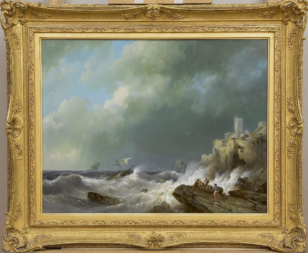 Koekkoek H.  | Hermanus Koekkoek | Paintings offered for sale | Shipwreck near a rocky coast, oil on panel 42.5 x 55.5 cm, signed l.r. and dated 1834