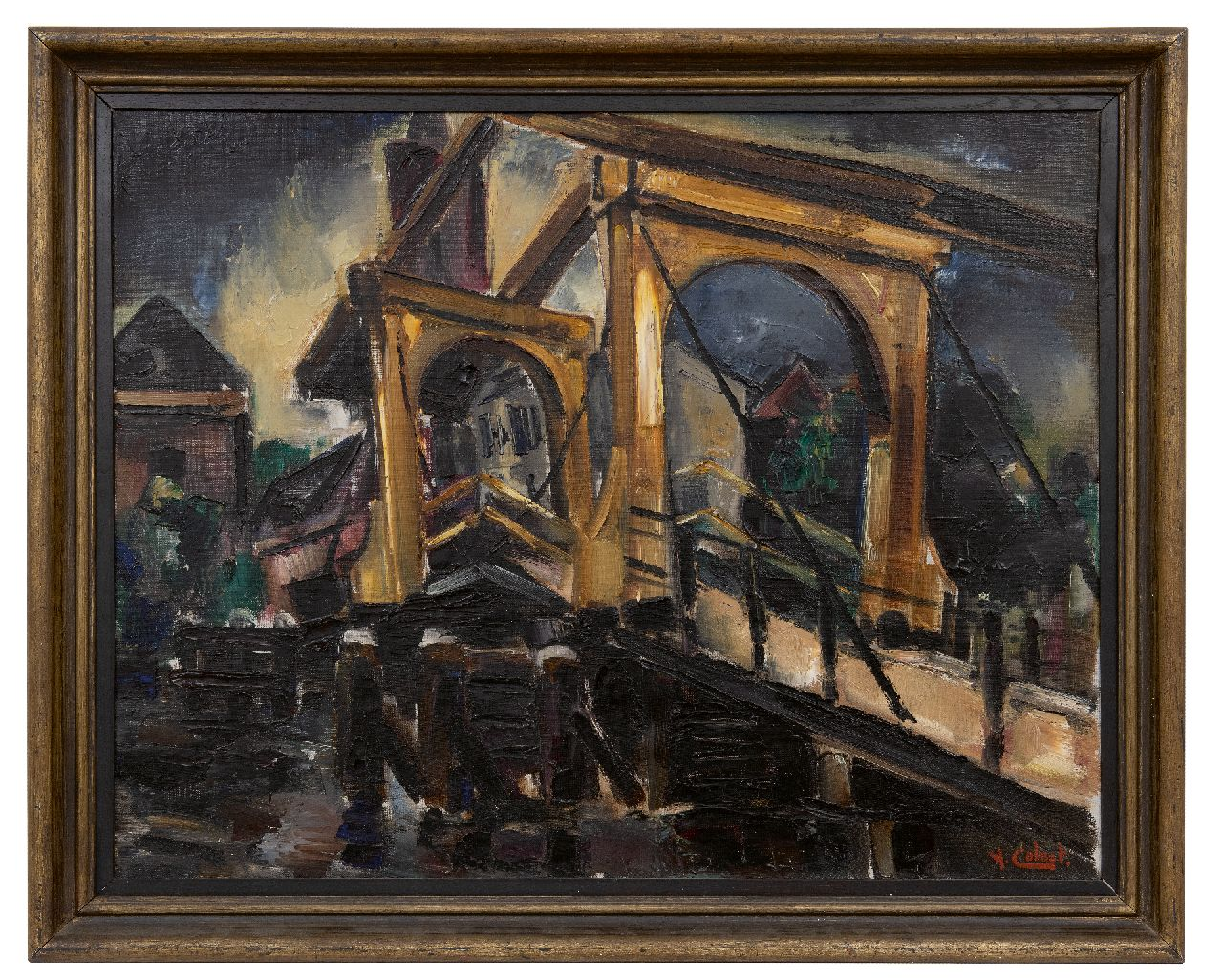 Colnot A.J.G.  | 'Arnout' Jacobus Gustaaf Colnot | Paintings offered for sale | Drawbridge, oil on canvas 61.3 x 76.9 cm, signed l.r.