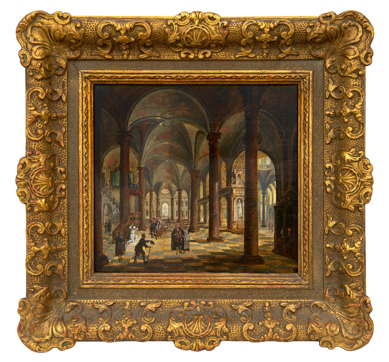 Stöcklin C.  | Christian Stöcklin | Paintings offered for sale | Church interior with figures, oil on panel 27.5 x 30.9 cm, signed l.c.