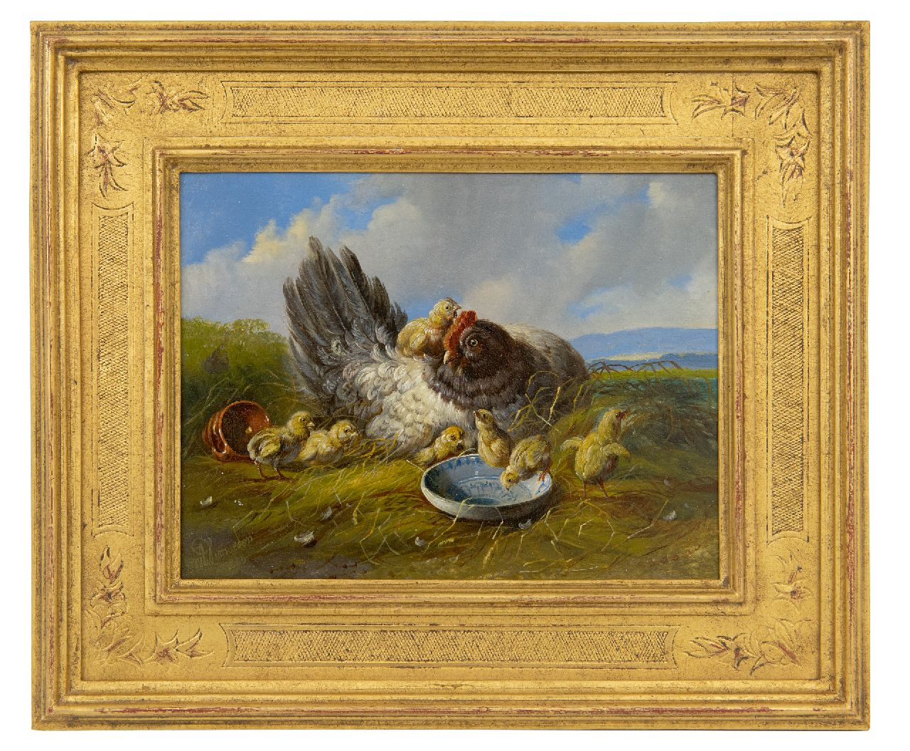 Verhoesen A.  | Albertus Verhoesen | Paintings offered for sale | Hen with chicks in a landscape (pair with 21928), oil on panel 14.7 x 19.2 cm, signed l.l. and dated 1880