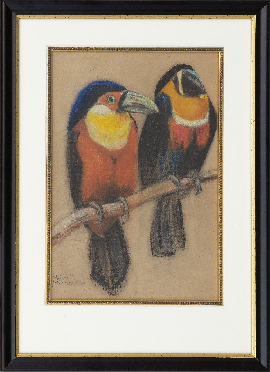 Pieneman J.H.  | 'Johanna' Hendrika Pieneman | Watercolours and drawings offered for sale | Two toucans, pastel on paper 36.7 x 25.0 cm, signed l.l.