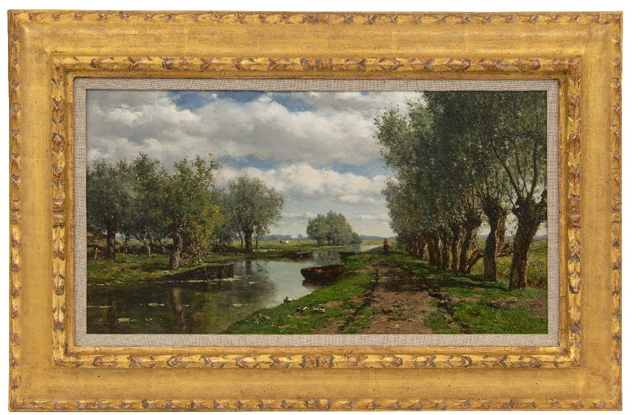 Roelofs W.  | Willem Roelofs, A polder landscape, oil on panel 25.8 x 48.2 cm, signed l.r. and verkocht