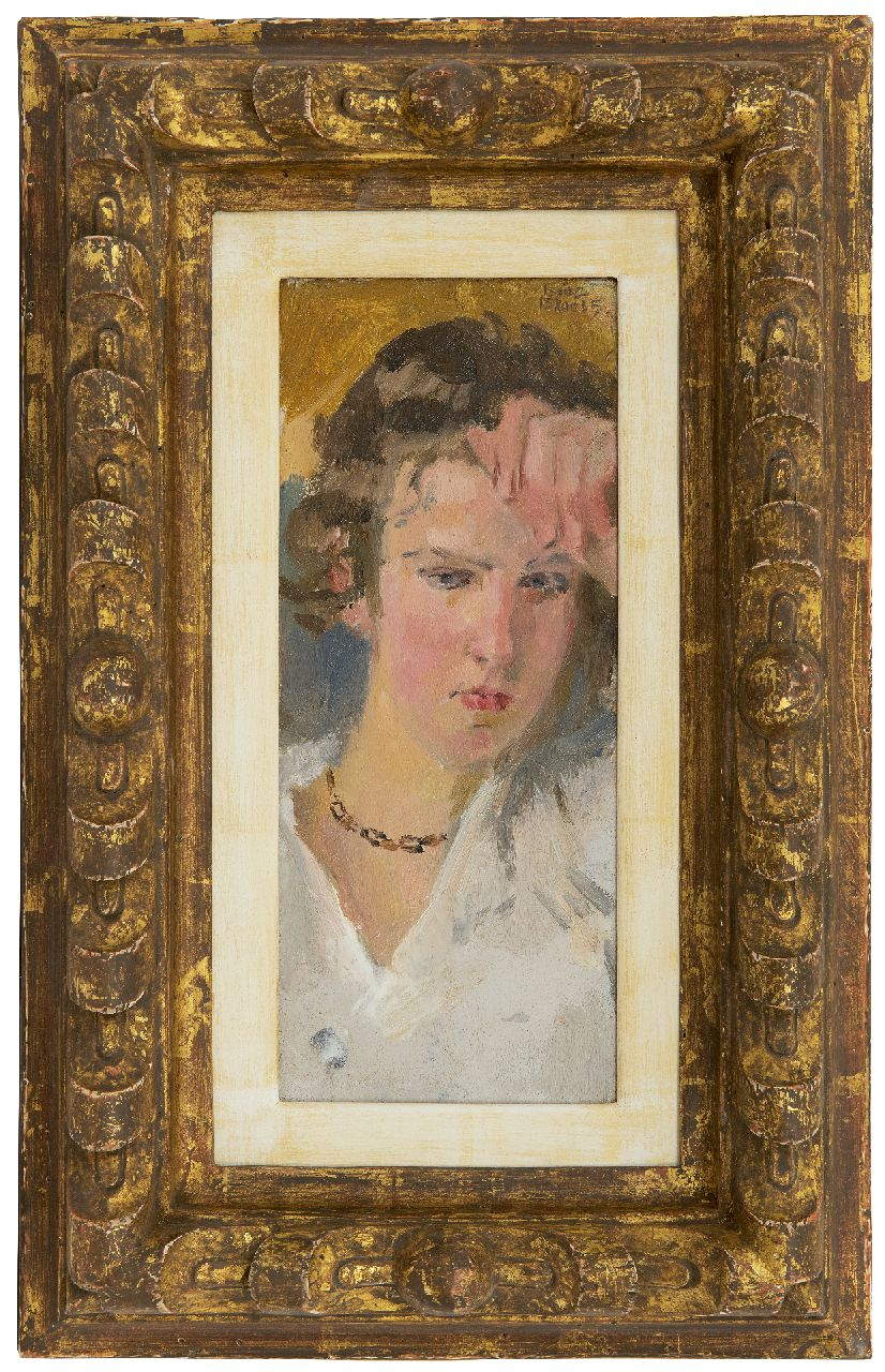 Israels I.L.  | 'Isaac' Lazarus Israels | Paintings offered for sale | Portrait of a young woman, oil on panel 23.0 x 9.5 cm, signed u.r. and painted ca. 1910-1915
