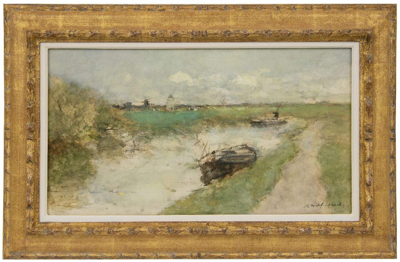 Weissenbruch H.J.  | Hendrik Johannes 'J.H.' Weissenbruch | Watercolours and drawings offered for sale | A polder landscape, watercolour on paper 30.0 x 54.6 cm, signed l.r.