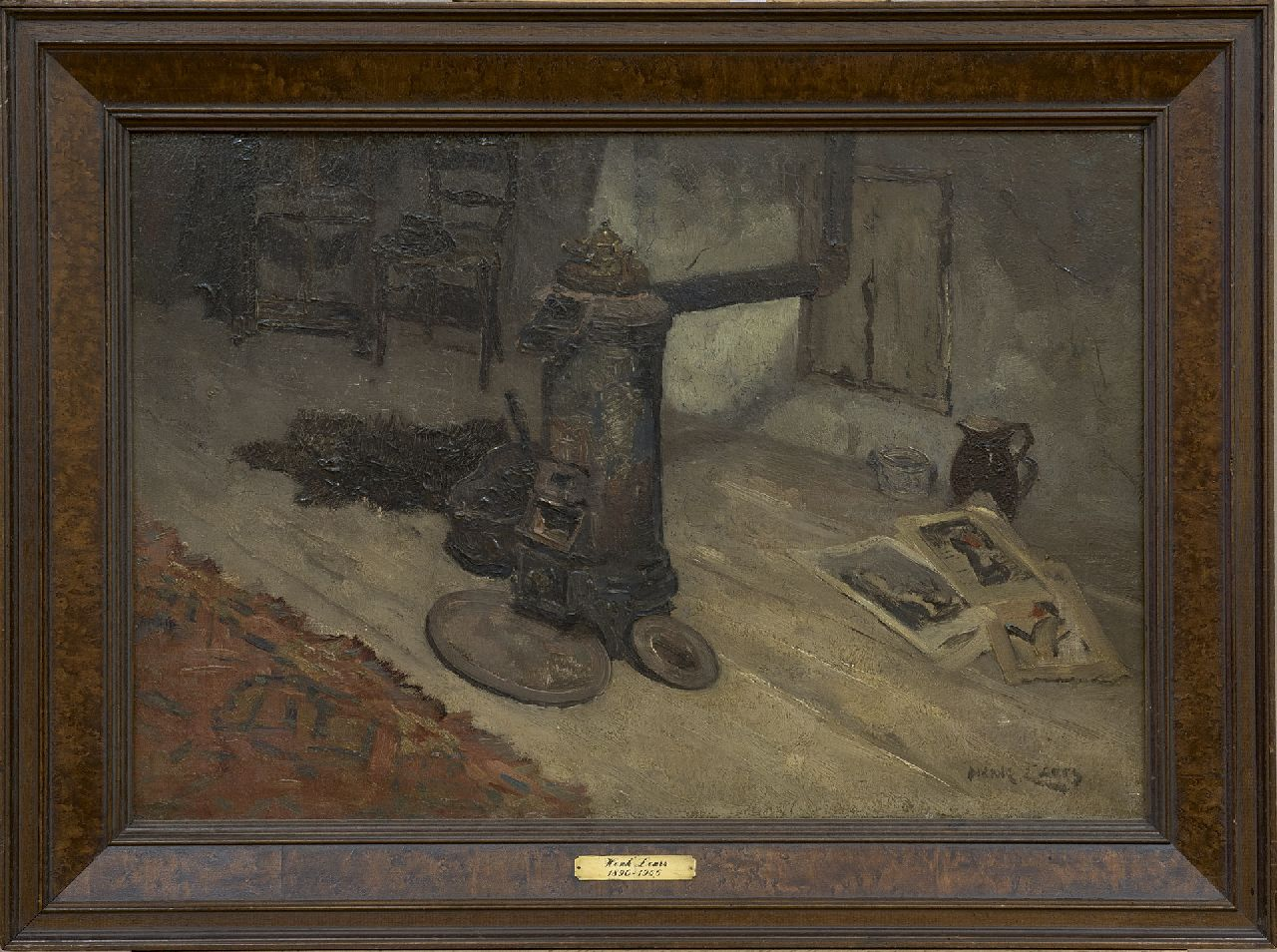 Leurs H.J.  | Hendrik Johannes 'Henk' Leurs | Paintings offered for sale | Interior with a round iron stove, oil on canvas 40.6 x 60.5 cm, signed l.r.