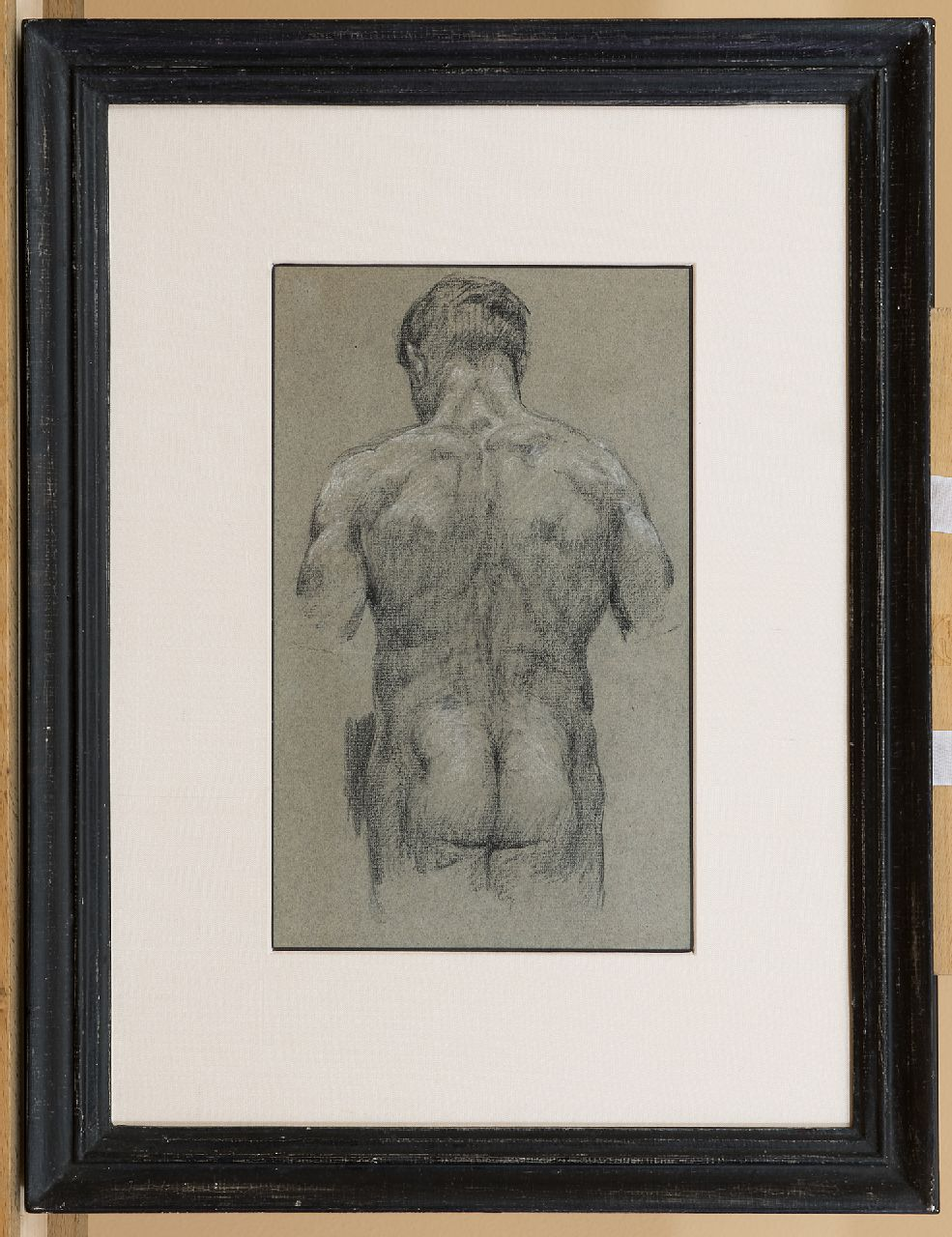 Roelofs O.W.A.  | Otto Willem Albertus 'Albert' Roelofs | Watercolours and drawings offered for sale | Study of a male nude, black and white chalk on paper 34.2 x 17.2 cm
