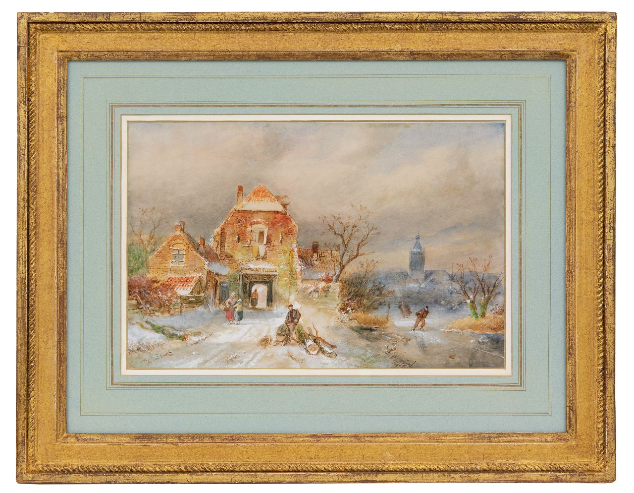 Leickert C.H.J.  | 'Charles' Henri Joseph Leickert | Watercolours and drawings offered for sale | A town in winter with skaters, watercolour on paper 23.1 x 34.8 cm, signed l.l.