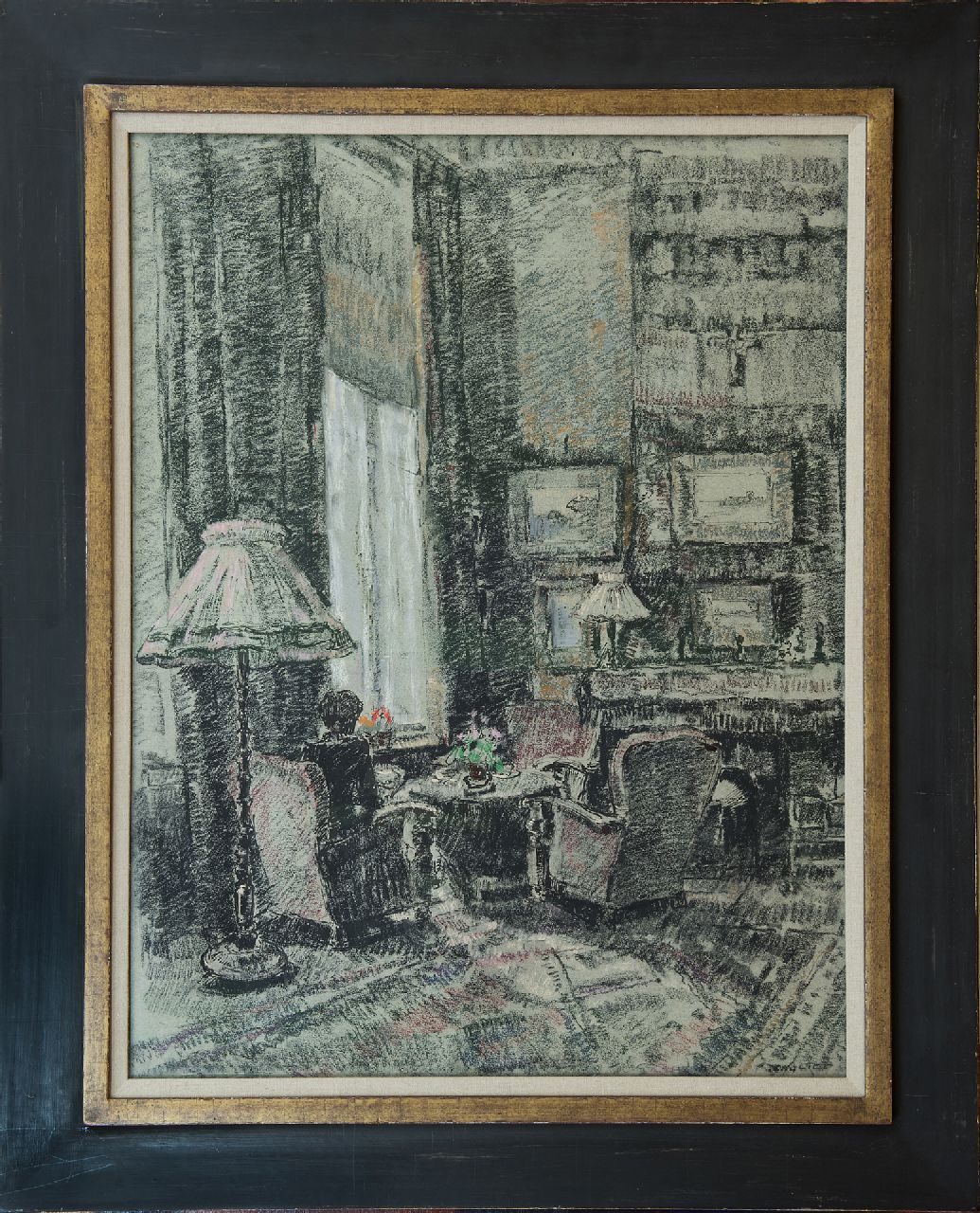 Noltee B.C.  | Bernardus Cornelis 'Cor' Noltee | Watercolours and drawings offered for sale | Corner near the window; living room of the artist, chalk on paper 65.0 x 50.0 cm, signed l.r.