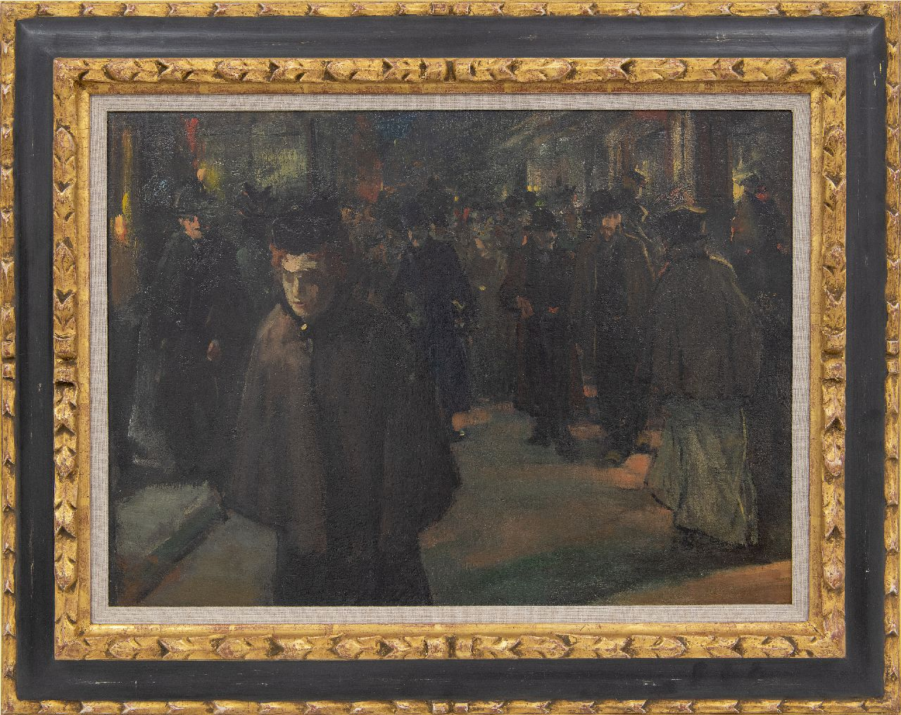 Arntzenius P.F.N.J.  | Pieter Florentius Nicolaas Jacobus 'Floris' Arntzenius | Paintings offered for sale | Crowded shopping street by night, oil on canvas 36.8 x 51.0 cm