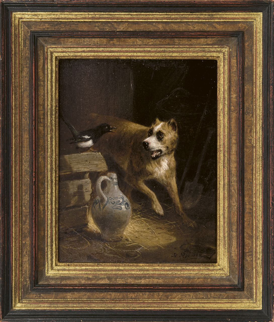 Ronner-Knip H.  | Henriette Ronner-Knip | Paintings offered for sale | The cheeky visitor, oil on panel 19.2 x 15.7 cm, signed l.r.