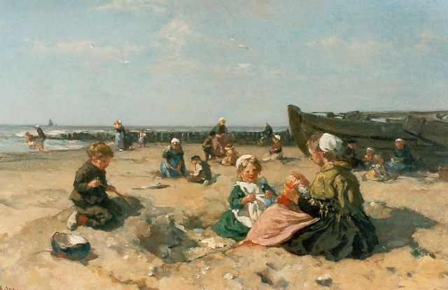 Johannes Evert Hendrik Akkeringa | Children playing on the beach, oil on canvas, 53.0 x 80.0 cm, signed l.l.
