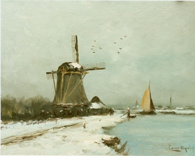 Louis Apol | A snow-covered polder landscape, oil on panel, 27.7 x 36.1 cm, signed l.r.