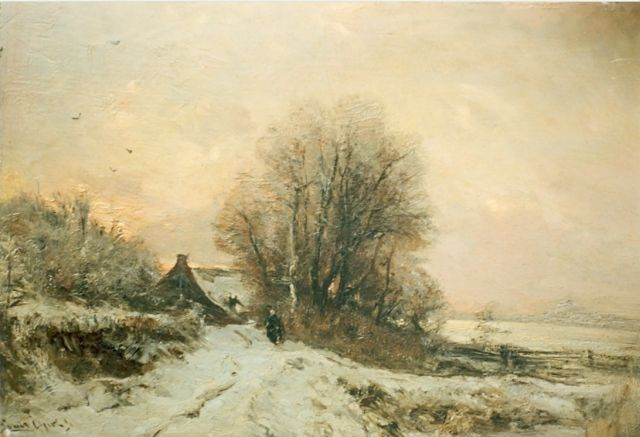 Louis Apol | A snow-covered landscape, oil on panel, 80.5 x 43.5 cm, signed l.l.