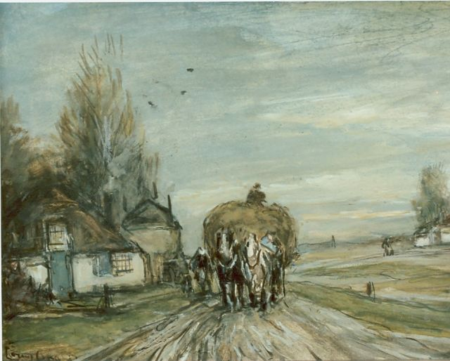 Louis Apol | The hay harvest, watercolour on paper, 15.5 x 19.5 cm, signed l.l.