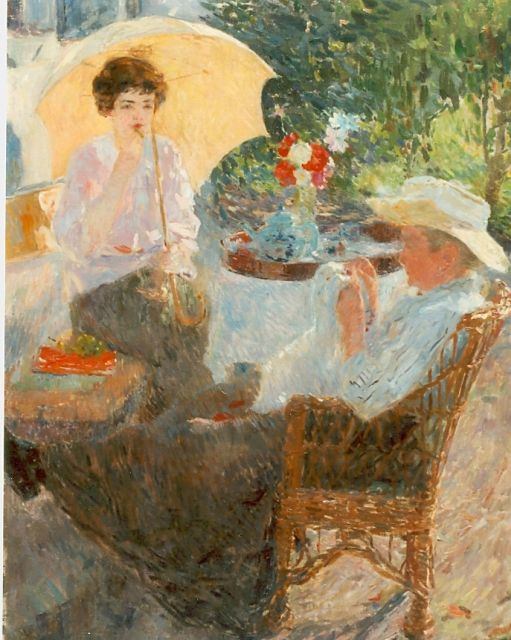 Ernest Jean Joseph Godfrinon | Two ladies in a garden in summer, oil on canvas, 98.7 x 76.5 cm, signed l.l.