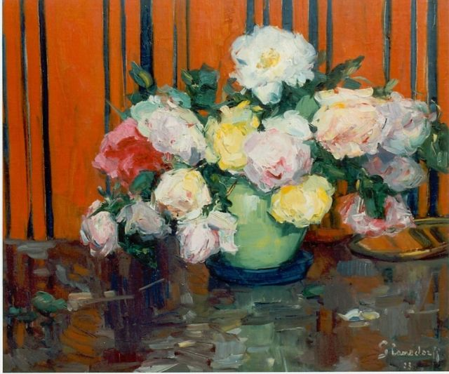 Hubert Glansdorff | Mixed bouquet of roses, oil on canvas, 55.0 x 64.2 cm, signed l.r. and dated '23