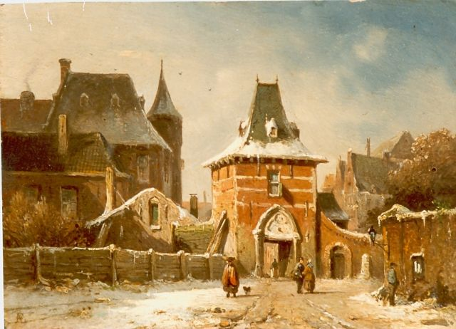 Adrianus Eversen | A town gate in the snow, oil on panel, 14.9 x 20.5 cm, signed l.l.