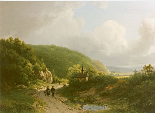Barend Cornelis Koekkoek | Travellers in a summer landscape, oil on canvas, 37.5 x 47.0 cm, signed m.o. and dated 1833