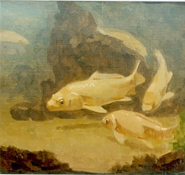 Gerrit Willem Dijsselhof | Carps, oil on canvas, 19.5 x 22.0 cm