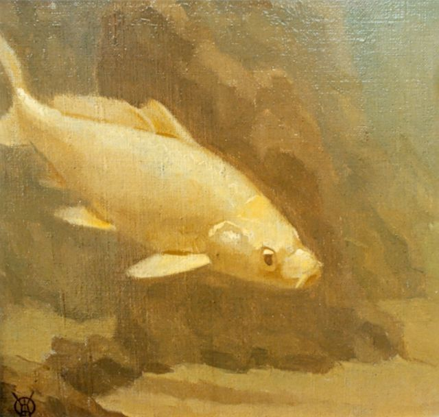 Gerrit Willem Dijsselhof | Gold carp, oil on canvas, 20.2 x 22.2 cm, signed l.l.