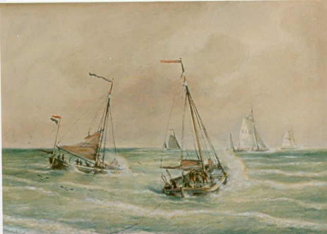 Cornelis Christiaan Dommelshuizen | Dutch fishing boats at sea, Scheveningen, watercolour on paper, 28.1 x 39.0 cm, signed l.r. and dated 1905
