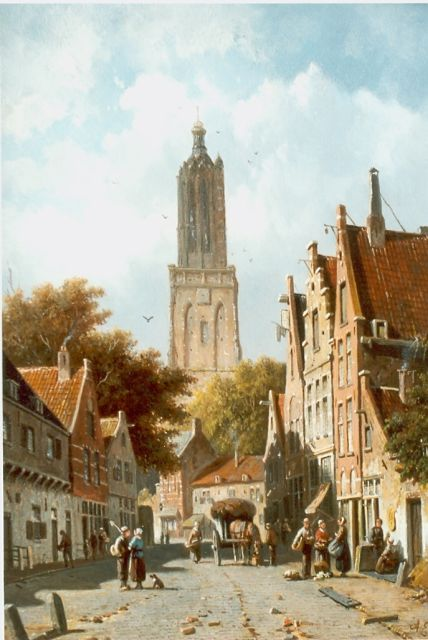 Adrianus Eversen | Daily activities, Amersfoort, oil on panel, 37.3 x 26.8 cm, signed l.r.