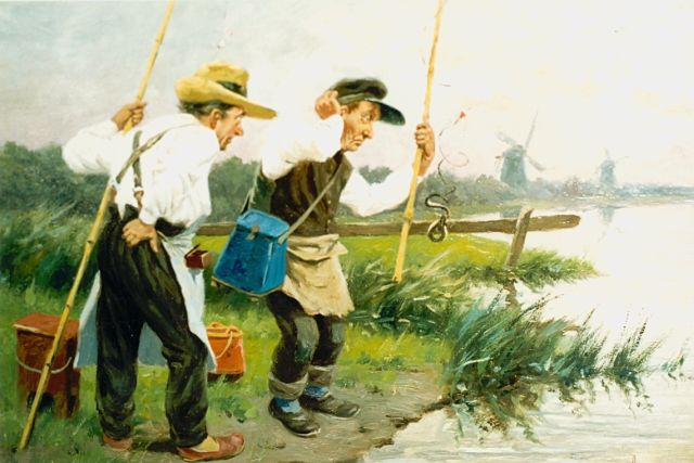 Johan Georg Gerstenhauer Zimmerman | Anglers, oil on panel, 29.9 x 32.0 cm, signed l.r.