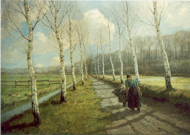 Arnold Marc Gorter | Gathering wood, oil on canvas, 110.7 x 155.7 cm, signed l.r.